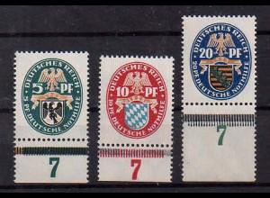 Dt. Reich, Mi. 375/77, postfrische Unterränder, Mi. 45,- ++ (0106)