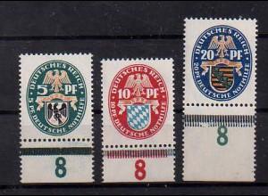 Dt. Reich, Mi. 375/77, postfrische Unterränder, Mi. 45,- ++ (0107)