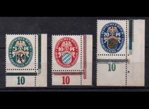 Dt. Reich, Mi. 375/77, postfrischer Eckrandsatz, Mi. 45,- ++ (0109)