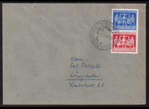 Kontrollrat, SZd 3, Einzelfrankatur auf Brief, Mi. für Brief 90,- (0148)