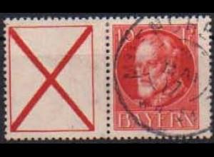 Bayern, Zd. W 6, gestempelt, gepr. Infla, Mi. 45,- ++ (0680)