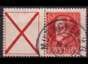 Bayern, Zd. W 6, gestempelt, ungeknickt, Mi. 45,- ++ (0681)