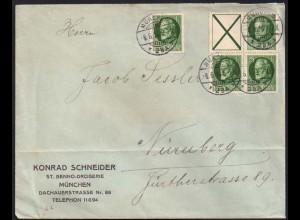 Bayern, S 17 o. W 5 als Viererblock, portogerechter Geschäftsbrief (0706)