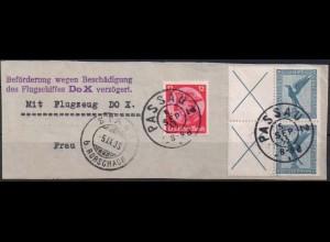 Dt. Reich, W 21.1, 2x als Paar, gestempelt, Flugschiff DO X, Mi. 100,- (0766)