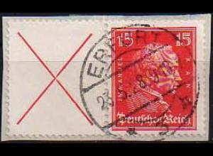 Dt. Reich, W 23, Briefstück, vollständige Zähnung, Mi. 200,- (0816)