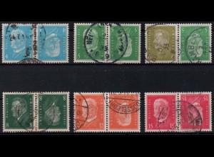 Dt. Reich, K 9 - K 14, gestempelt, alle Kehrdrucke ungeknickt, Mi. 250,- (0864)