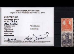 Dt. Reich, S 8 ba, Falz, vollst. Zähnung, Kurzbefund BPP, Mi. 180,- (0875)