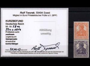 Dt. Reich, S 8 aa, Falz, seltene Farbe, Kurzbefund BPP, Mi. 280,- (0878)