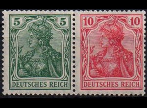 Dt. Reich, W 7 I ab, Falz, vollständige Zähnung, gepr. BPP, Mi. 60,- (0897)