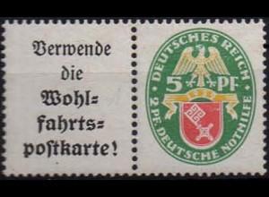 Dt. Reich, W 34, Falz/Falzrest, vollständige Zähnung, Mi. 42,- ++ (1054)