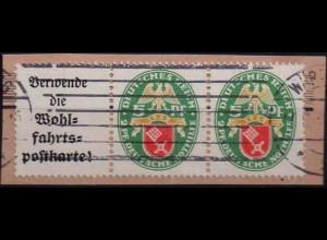 Dt. Reich, W 34, Briefstück, vollständige Zähnung, Mi. 80,- ++