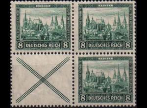 Dt. Reich, W 37, 4er-Block, Falzspuren, Mi. 60,-, postfr. 200,- (1088)