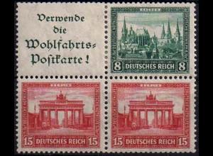 Dt. Reich, W 38, 4er-Block, Falzspuren,Mi.-Handbuch 60,-, postfr. 200,- (1090)