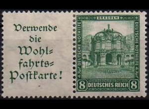 Dt. Reich, W 40, Falz/Falzspur, vollständige Zähnung, Mi. 24,- ++ (1122)