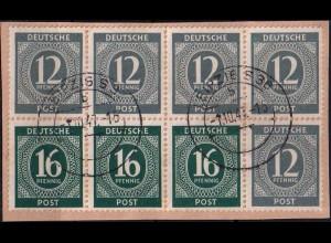 All. Bes. HBl. 123, Briefstück mit 2 klaren Stempeln, Mi. 150,- (1358)
