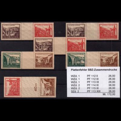 SBZ, WZd 1-2, sechs postfrische Zd. mit Plattenfehlern, Mi. 183,- (1370)