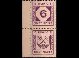 Niesky, SZd 7, postfrisches Randstück, Mi. 25,-