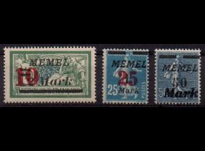 Memel, Mi. 121 - 123, postfrisch, Mi. 50,-
