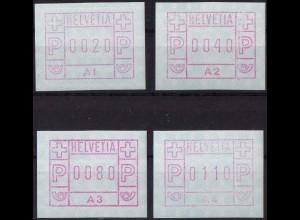 Schweiz-ATM, Mi. 1, kpl. Satz A1 - A4, postfrisch, Mi. 130,-