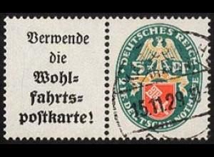Dt. Reich, W 34, gestempelt, vollständige Zähnung, Mi. 60,- (1720)
