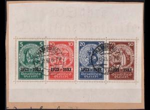 Dt. Reich, Bl Hz 2, Block-Zd. auf Briefstück, Mi.-Handbuch 3600,- (1798)
