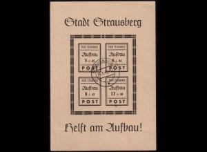 Strausberg, Block 2 II, Plattenfehler 'Strausburg', gest., Mi. 1200,- (1883)
