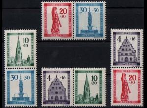 Baden, Bl S 1 - W 2, alle Block-Zd., postfr., ungeknickt, Mi. 72,- (1918)