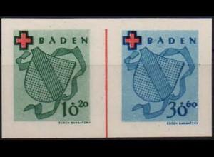 Frz. Zone Baden, Bl W 3, Block-Zd., ohne Gummi, ungeknickt, Mi. 40,-