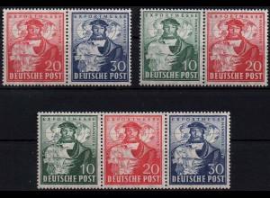 Bizone, Bl W 1 - 3 a, alle 3 Block-Zd., postfrisch, ungeknickt, Mi. 140,- (1931)