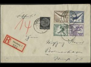 Dt. Reich, Bl Hz 4, Block-Zd., portogerechter R-Brief, Mi. 2400,- (1996)