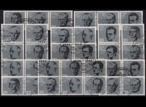 Bund, Bl S 1 - W 17, alle 14 Block-Zd., gestempelt, Mi. 64,- (2039)