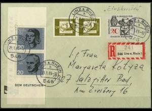 Bund, Bl S 1, Block-Zd., portogerechter R-Brief, Mi. 50,-