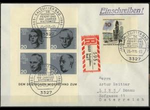 Bund, Bl VB 1, Block-Zd., portogerechter Auslands-R-Brief, Mi. 100,- (2051)