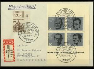 Bund, Bl VB 3, Block-Zd., portogerechter Auslands-R-Brief, Mi. 100,- (2054)