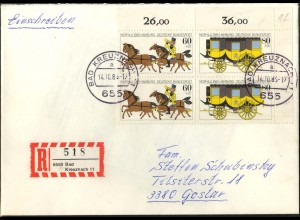 Bund, W Zd 5, portogerechter R-Brief (MeF), Mi. 17,50 ++