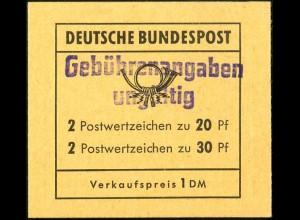 """Bund, MH 14 g, Aufdruck """"Gebührenangaben ungültig"""", postfrisch, Mi. 60 ++"""