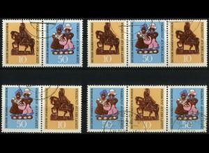 DDR, WZd 210 - 213 (1521-23), kpl. Serie gestempelt, ungeknickt, Mi. 30,-