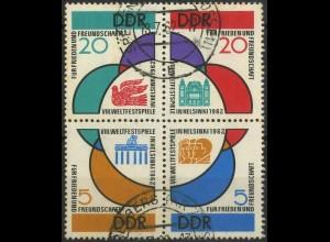 DDR, 901-904, Viererblock mit Tagesstempel, Mi. 70,-