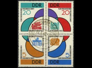 DDR, 901-904, Viererblock mit Tagesstempel vom Ersttag, Mi. 70,- ++