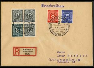 All. Bes., W 158 auf R-Brief, tadellos gezähnt