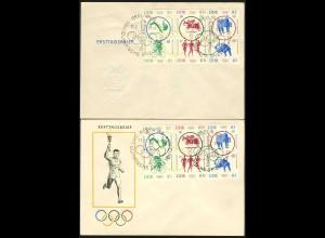 DDR, 1039-44, Sechserblock auf 2 versch. Ersttagsbriefen, Mi. 130,-