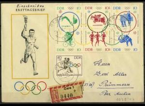 DDR, 1039-44, Sechserblock auf R-Ersttagsbrief, Mi. 65,- ++
