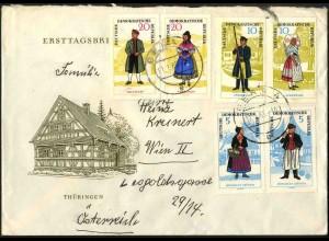 DDR, 1074-79, Auslands-Brief mit drei Zd., Mi. 75,-