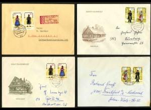 DDR, 1074-79, vier Briefe mit versch. Zd., Mi. 42,-