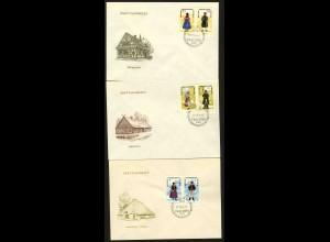DDR, 1074-79, auf drei Ersttagsbriefen (WZd 144, 146, 148), Mi. 45,-