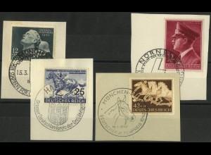 Dt. Reich, Mi. 812-815, je mit SST auf Briefstück, Mi. 32,-