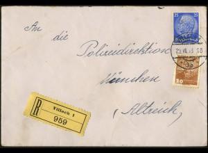 Dt. Reich, Ostmark, Währungs-Mischfrankatur auf unterfrankiertem R-Brief