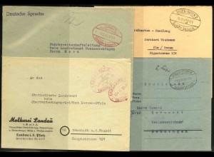 """Frz. Zone, 1945/47, Lot mit 7 Briefen """"Gebühr bezahlt""""-Oval-Stempel"""