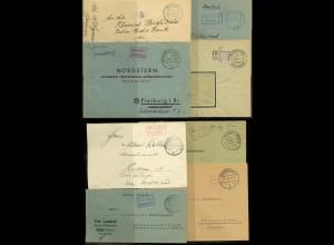 """Frz. Zone, 1945/47, Lot mit 8 Briefen """"Gebühr bezahlt"""""""