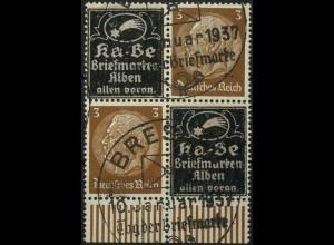 Dt. Reich, Zd.-Viererblock Ka-Be, Mi. P-V 4, gestempelt (4114)